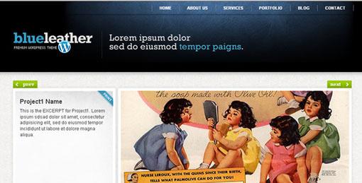 Blue Leather WordPress Portfolio Theme