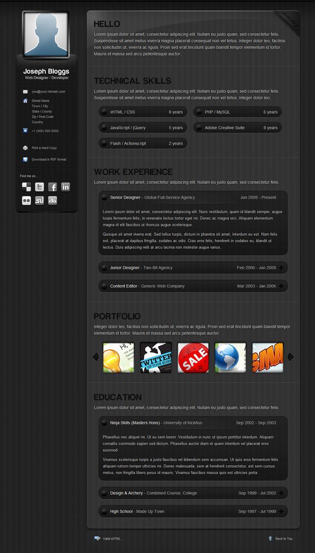 Dark Pinstripe Template Resume