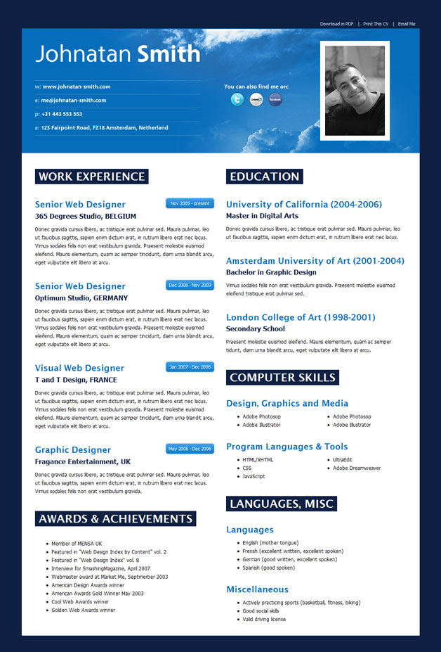Best Resume Templates arch2o resume cv 09 Some Tips About Creating A Resume Html Site Ijknnxnv