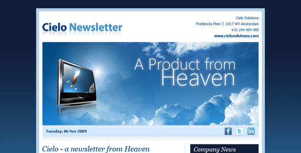 Html email newsletter templates cielo newsletter template spiritdancerdesigns Image collections