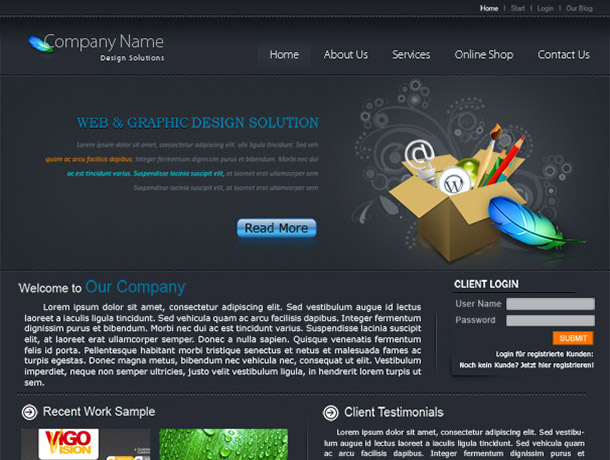 Template without doubt a good start for your company website