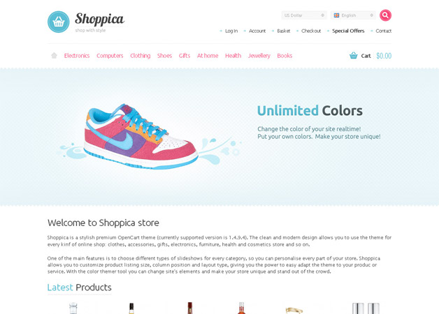 20 opencart themes and templates shoppica is a stylish and modern 2 column theme it has unlimited colors set custom backgrounds seo ready custom slideshows horizontal navigation with maxwellsz