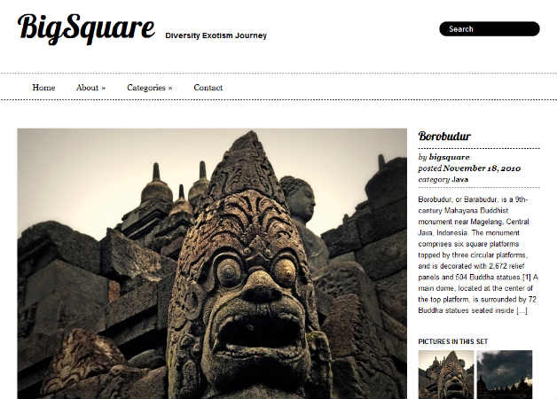 big square Photography Theme for WordPress