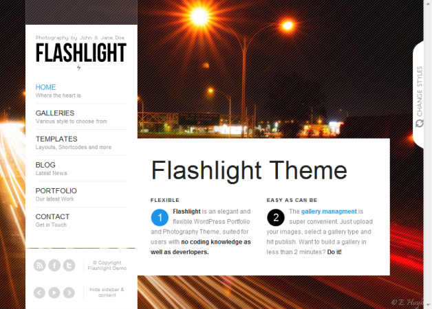 flashlight Photography Theme for WordPress