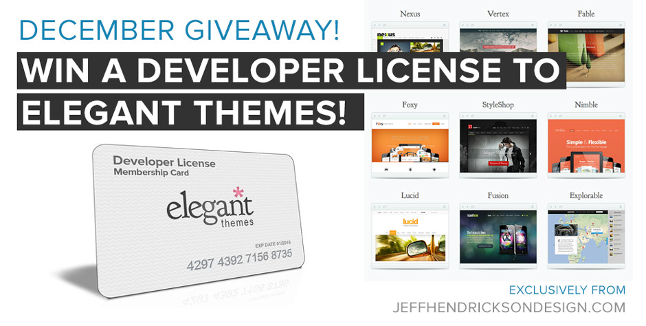 December Giveaway!  Win a Developer License Membership to Elegant Themes + Meet Divi, a Brand New WordPress Theme