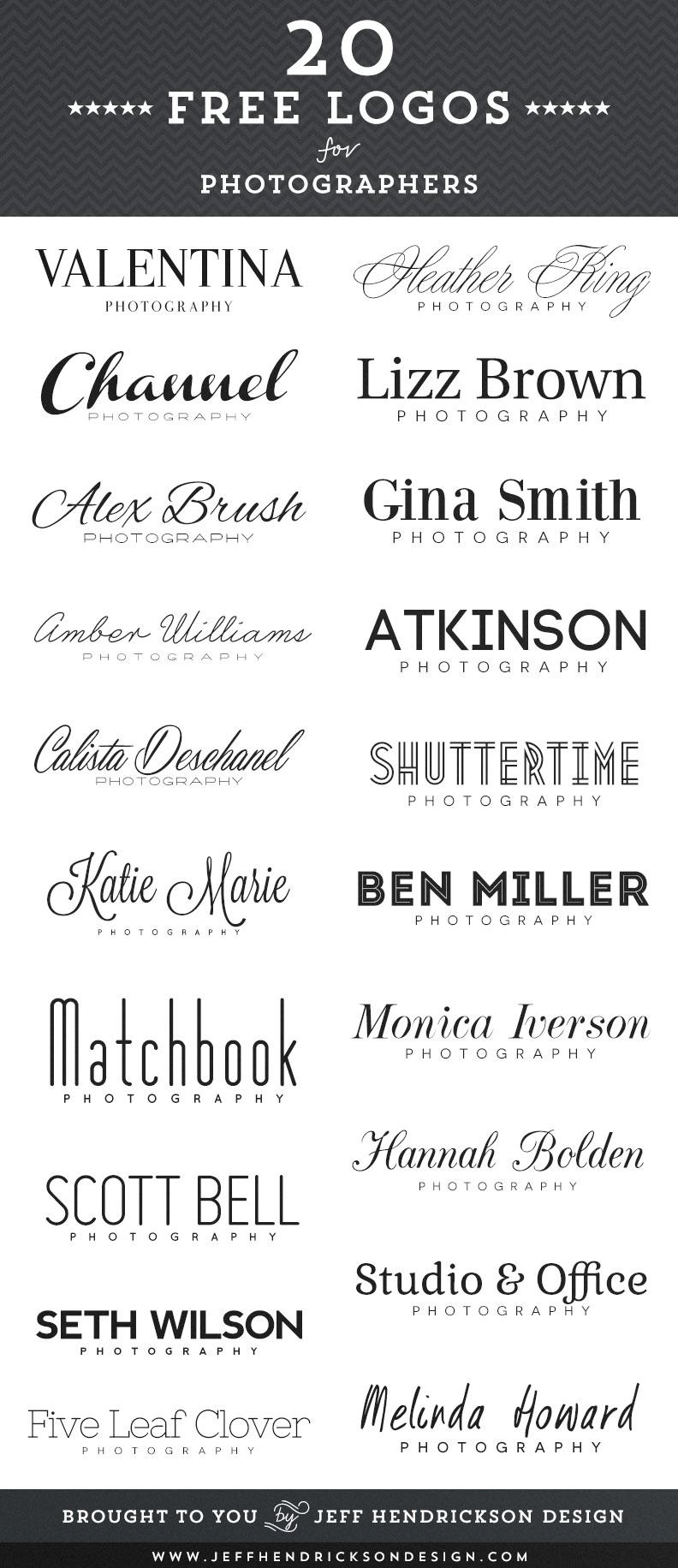 20 logotipos de fotógrafo gratis