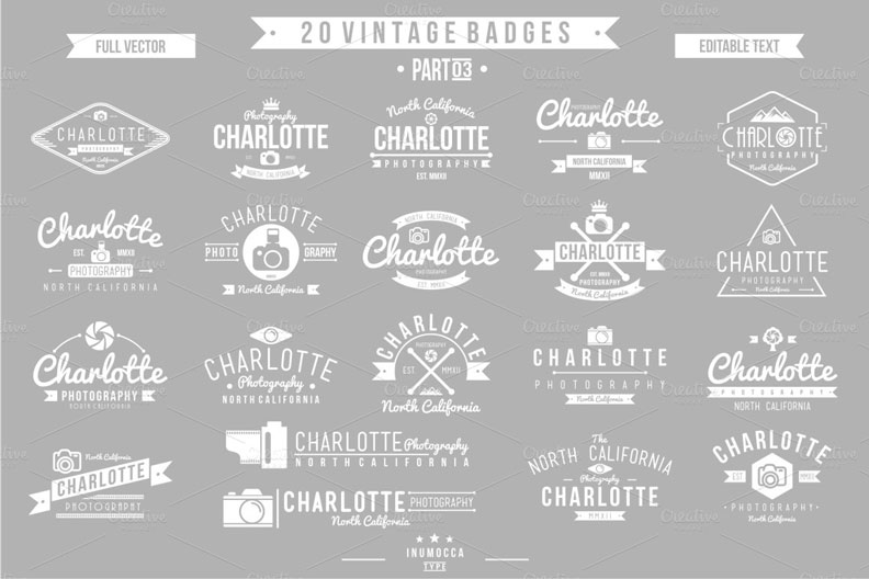 vintage photography badges bundle