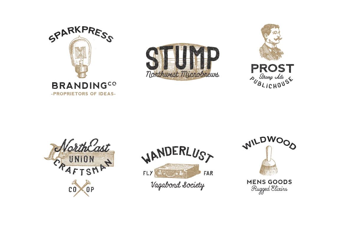 Vintage Font Styles Free Download 6 select vintage style logos Vintage Americana Graphics