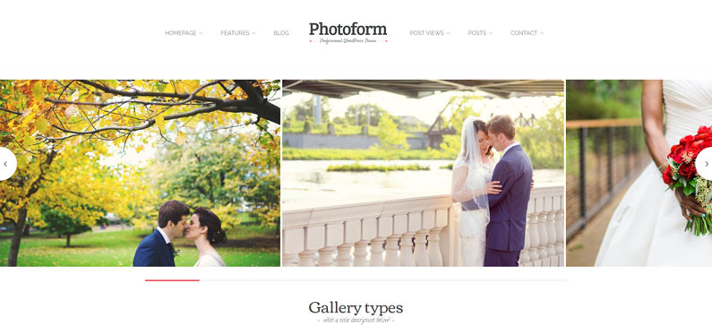 Photoform - photographer WordPress theme