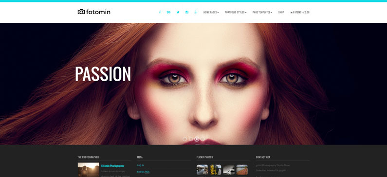 Fotomin - photographer WordPress theme