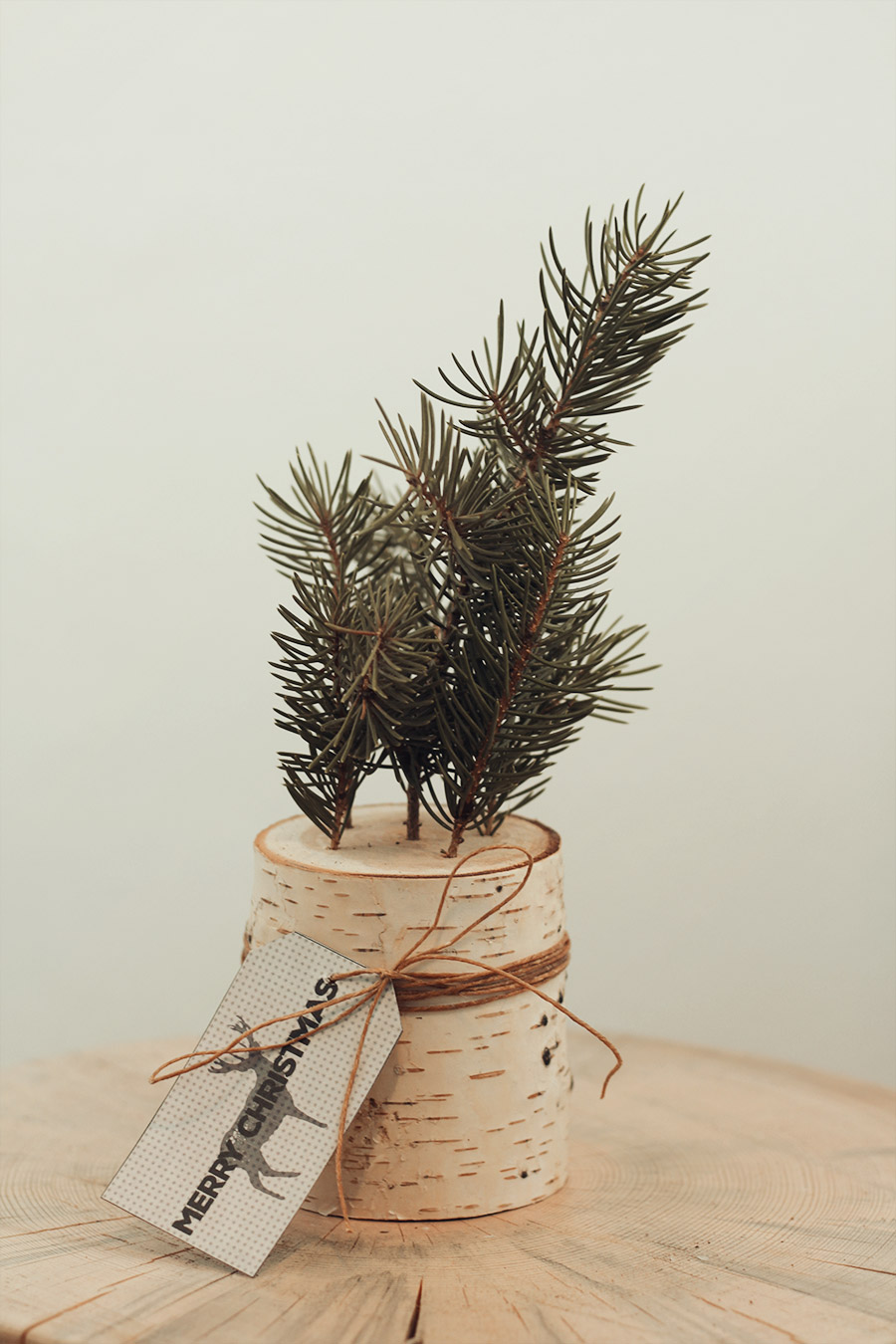 Handmade Christmas Decoration using a log and pine branches