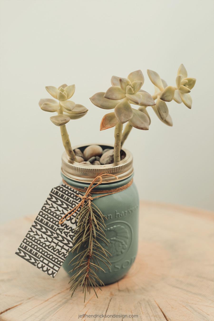 Succulent gift mason jar