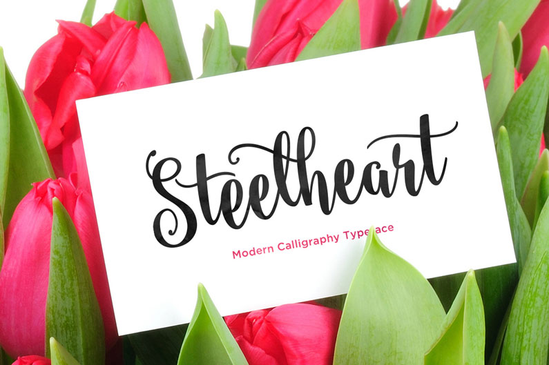 Steelheart font +42 other brush & script fonts