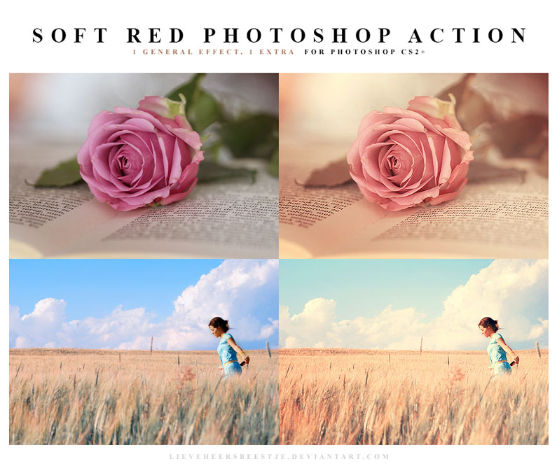 The best free photoshop actions for photographers - Soft Red Photoshop Actions