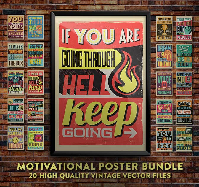printable vintage motivational quote posters
