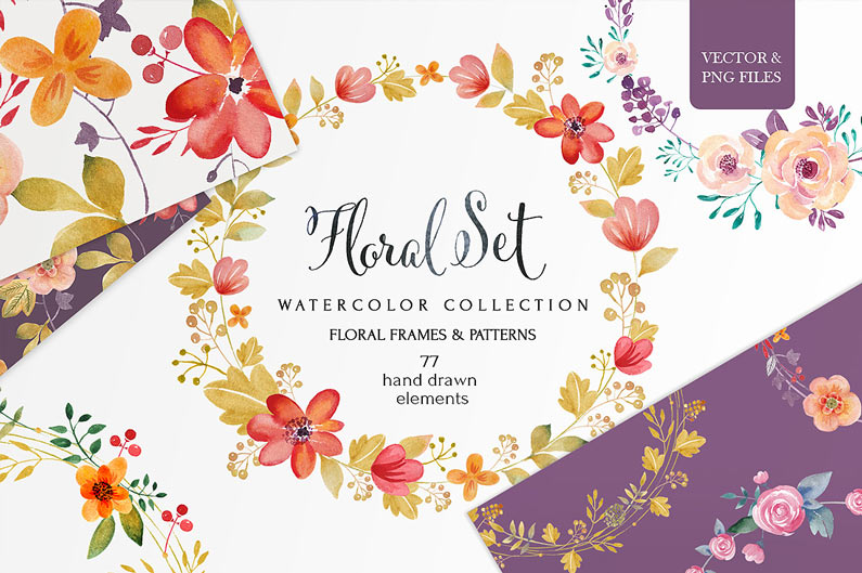 The best floral & flower cilpart - Watercolour floral set
