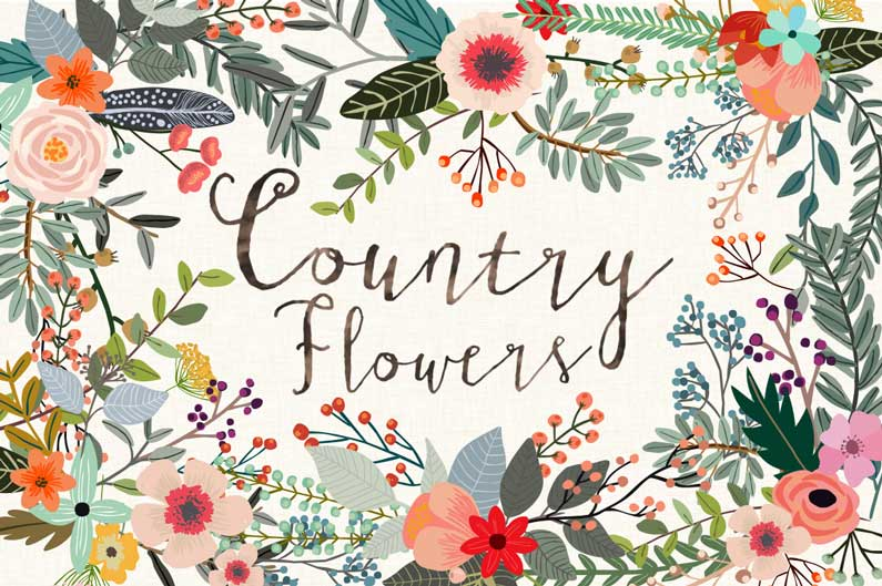The best floral & flower cilpart - Country Flowers