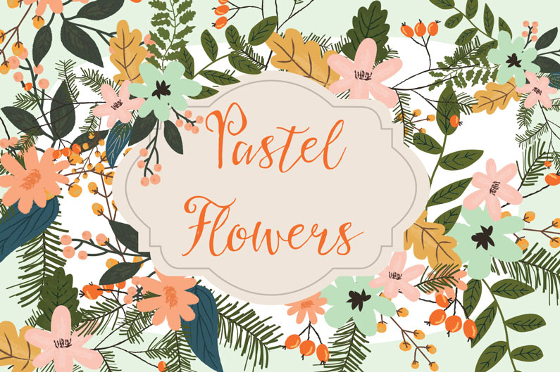 The best floral & flower cilpart - Pastel flowers