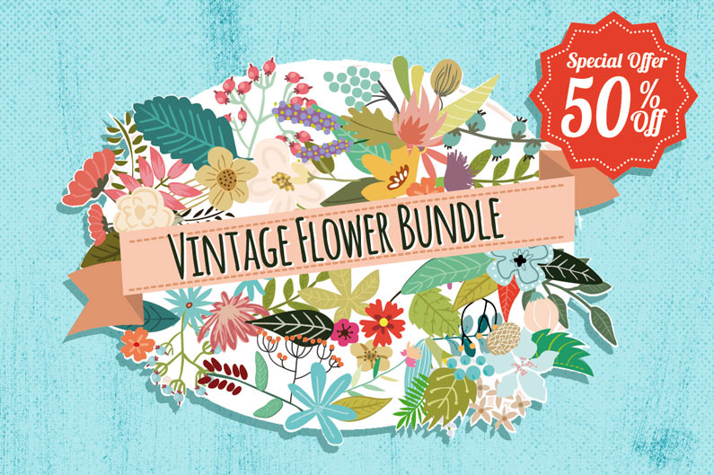 The best floral & flower cilpart - Vintage flower bundle