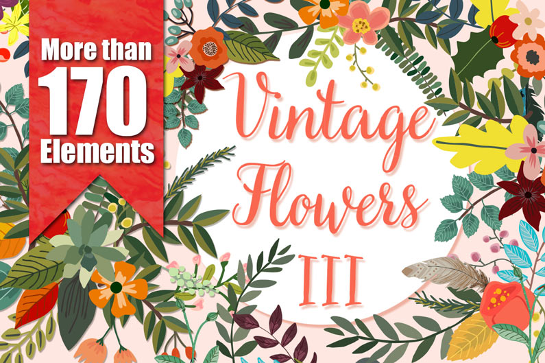 The best floral & flower cilpart - Vintage flowers bundle 3