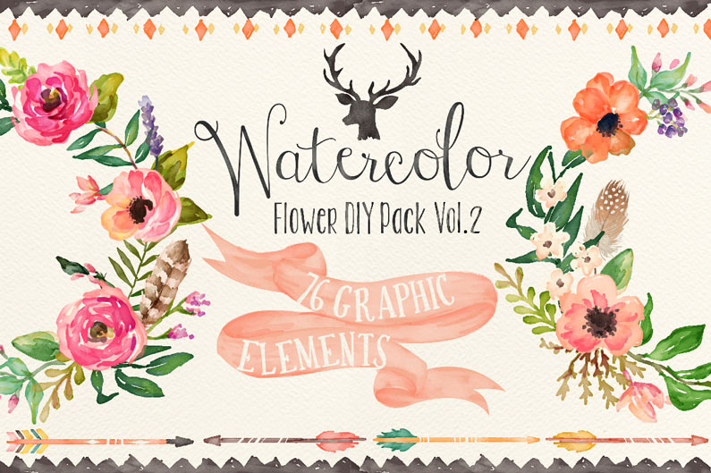 The best floral & flower cilpart - Watercolour flowers