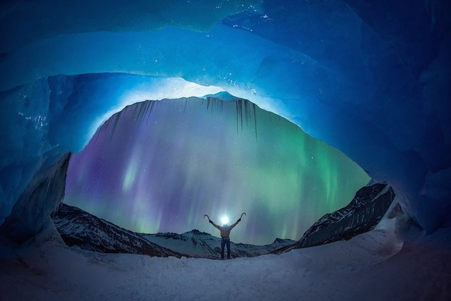 Glacier Illuminated by The Northern Lights