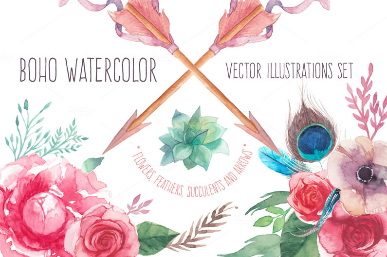 Boho Watercolour Vector Illustrations