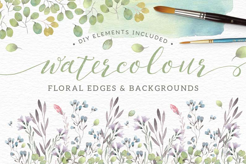 Watercolor Floral Edges