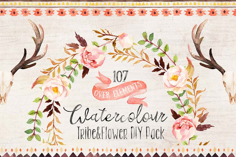 Watercolour Tribe and Flower DIY + Bonus