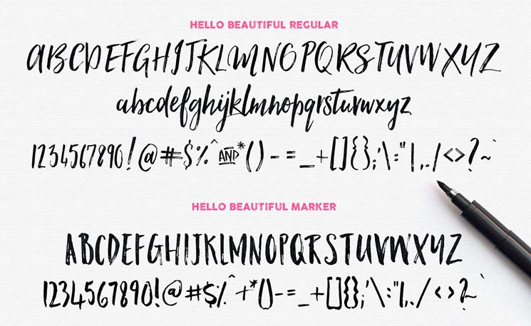 Hello Beautiful - Brush Font Example