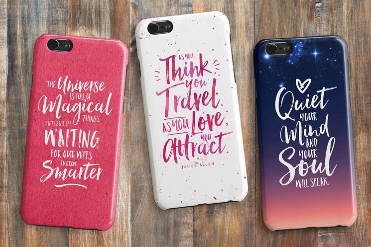 Hello Beautiful font phone mockups
