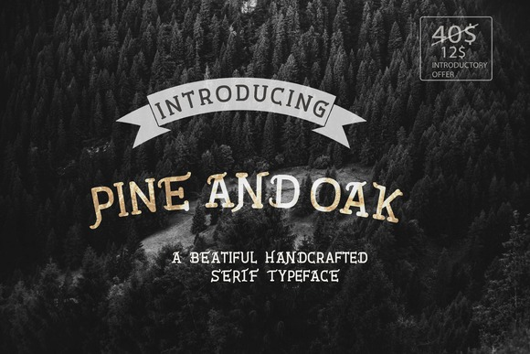 Pine And Oak is a handcrafted all caps serif typeface with the beauty and grace of the wilderness.