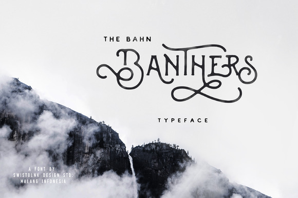 Banthers is handmade modern vintage mono-line display typefaces, which is combining the style of classic typography with an modern handlettering style.