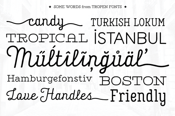 Tropen Font Family was designed carefully to create elegant works. It would be a perfect choice to design posters, affiches, logos, t-shirt and magazine prints, eye-pleasing typographic designs and more.