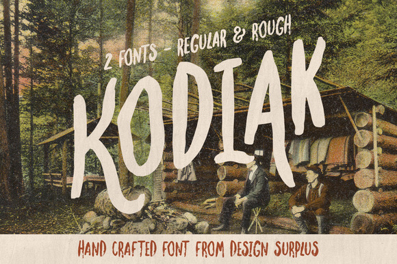 Kodiak is made up of 2 fonts, regular and rough, that reflect the rustic beauty of the wild. A collection of 33 wilderness brush icons are included to compliment Kodiak.