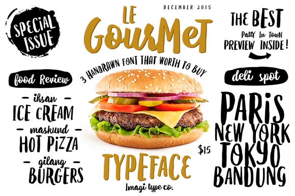 Le Gourmet is a handmade font family consisting of 3 fonts made with ink and a brush. Le Gourmet & Le Gourmet Bouncy is an all caps font, but upper and lower case are different and you can easily interchange the glyphs.