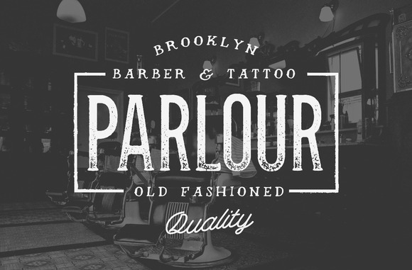 Parlour - a display typeface inspired by Movember, Menswear Brands, Tattoo Shops & Barbers.