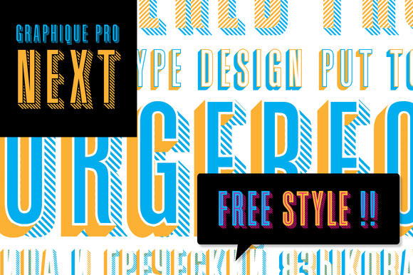 Graphique Pro Next Comp - This layered type family consists of 8 styles which can be combined in plenty of ways to create unique designs.