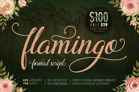 Flamingo is handwritten modern script calligraphy font with numerous alternates.