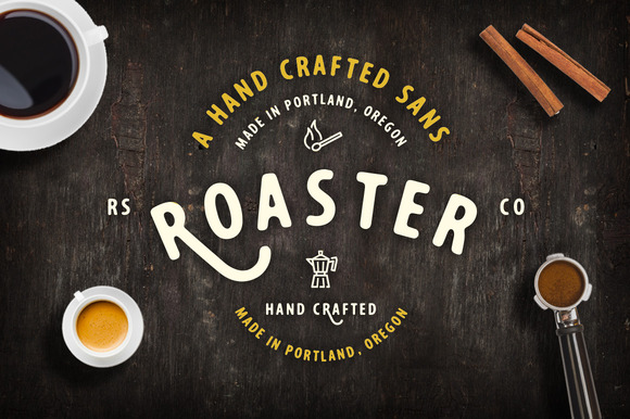 Roaster has a rounded, hand crafted flavor with lots of alternatives. A perfect font pair for branding and headings.