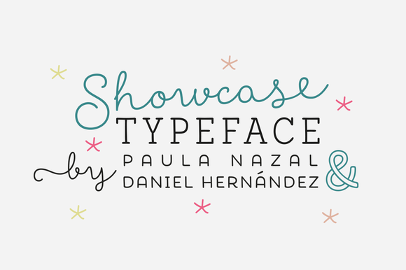 Showcase is a handmade font consisting of a set of types that are composed of four styles, one script, one sans, a slab, sans mini and finally a set of ornaments and dingbats.