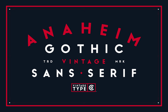 Anaheim Gothic is a bold, geometric, sans serif display font inspired by and designed for vintage logo & packaging design.