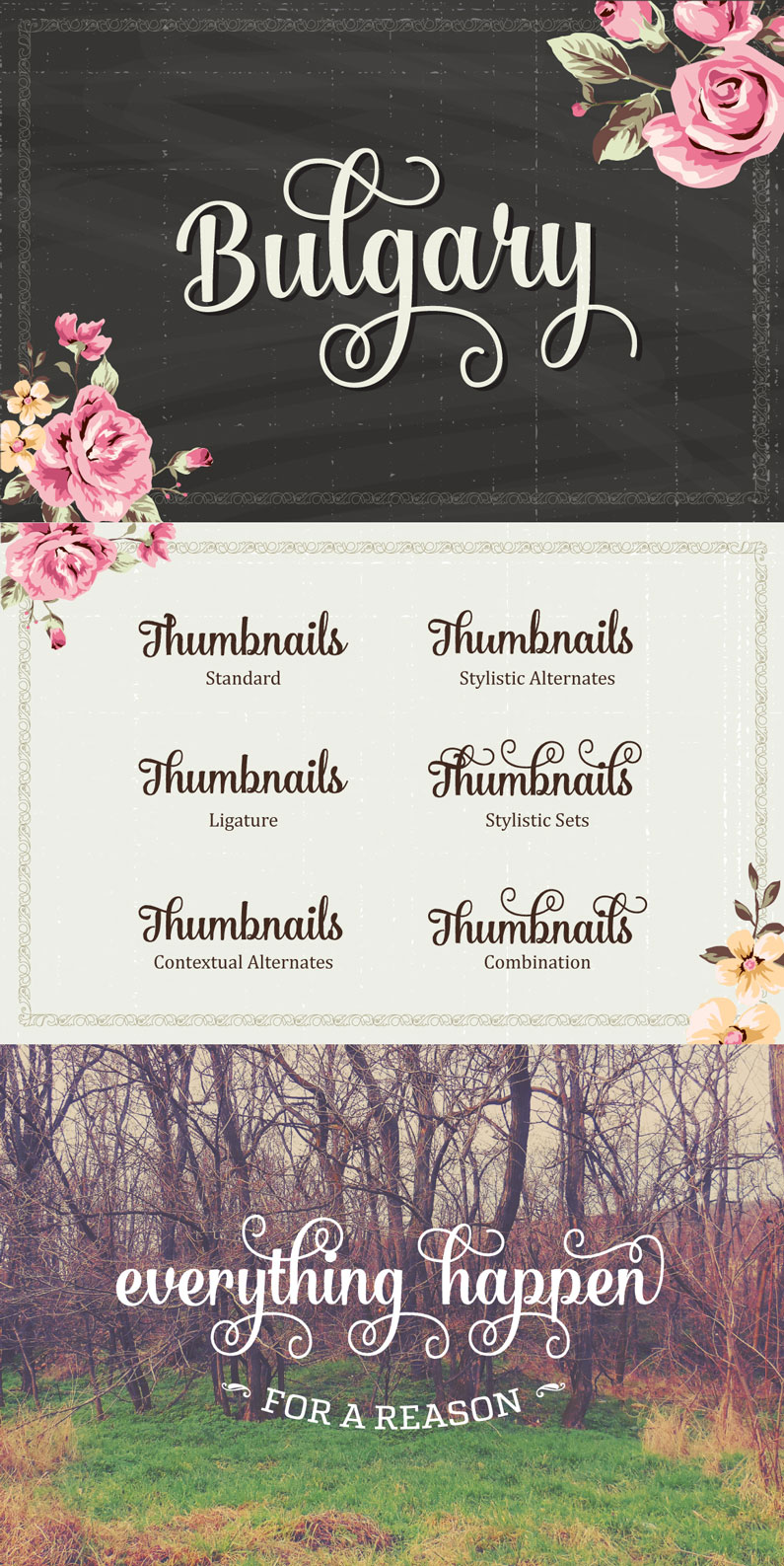 Bulgary is a surreal script that combined brush lettering with traditional hand writing. It is multipurpose and flexible, make it easy to match with another typefaces to create some beautiful project such as wedding invitation, vintage design, greeting card, poster, book cover, illustration, etc.