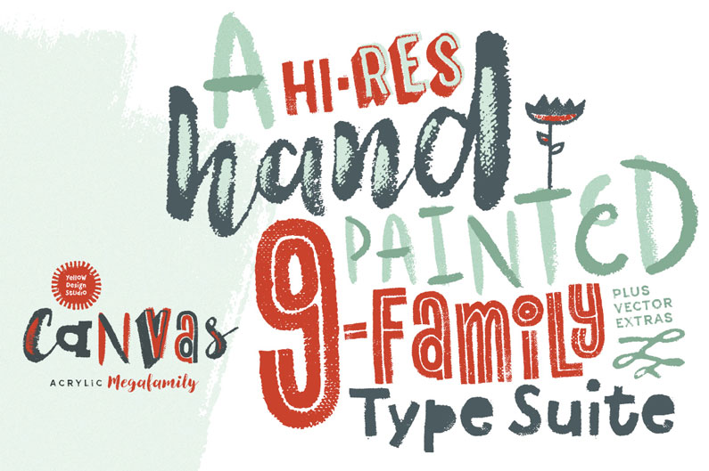 Canvas Acrylic Font is a collection of nine distinct hand-painted font families ranging from refreshingly festive to folky and organic.