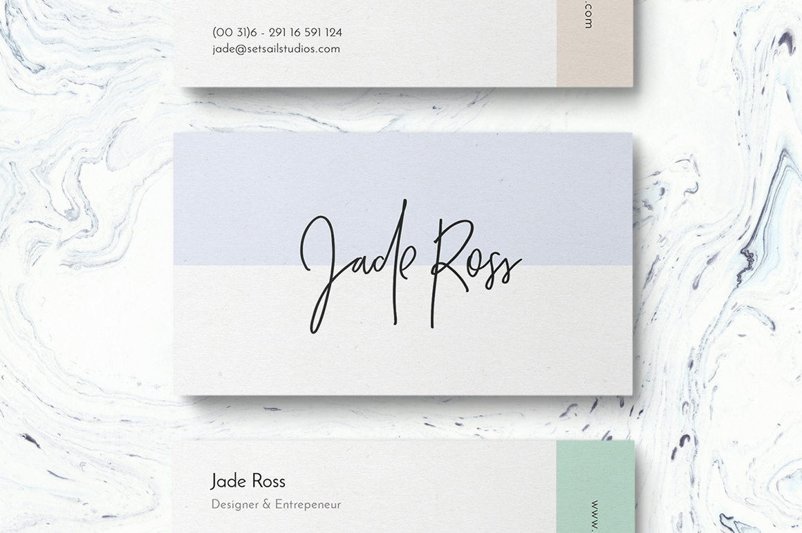 Crystal Sky Brush Font - Business Card Design