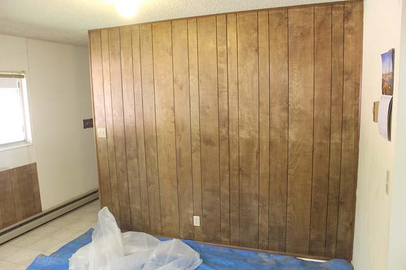 Wood panel wall needs paint