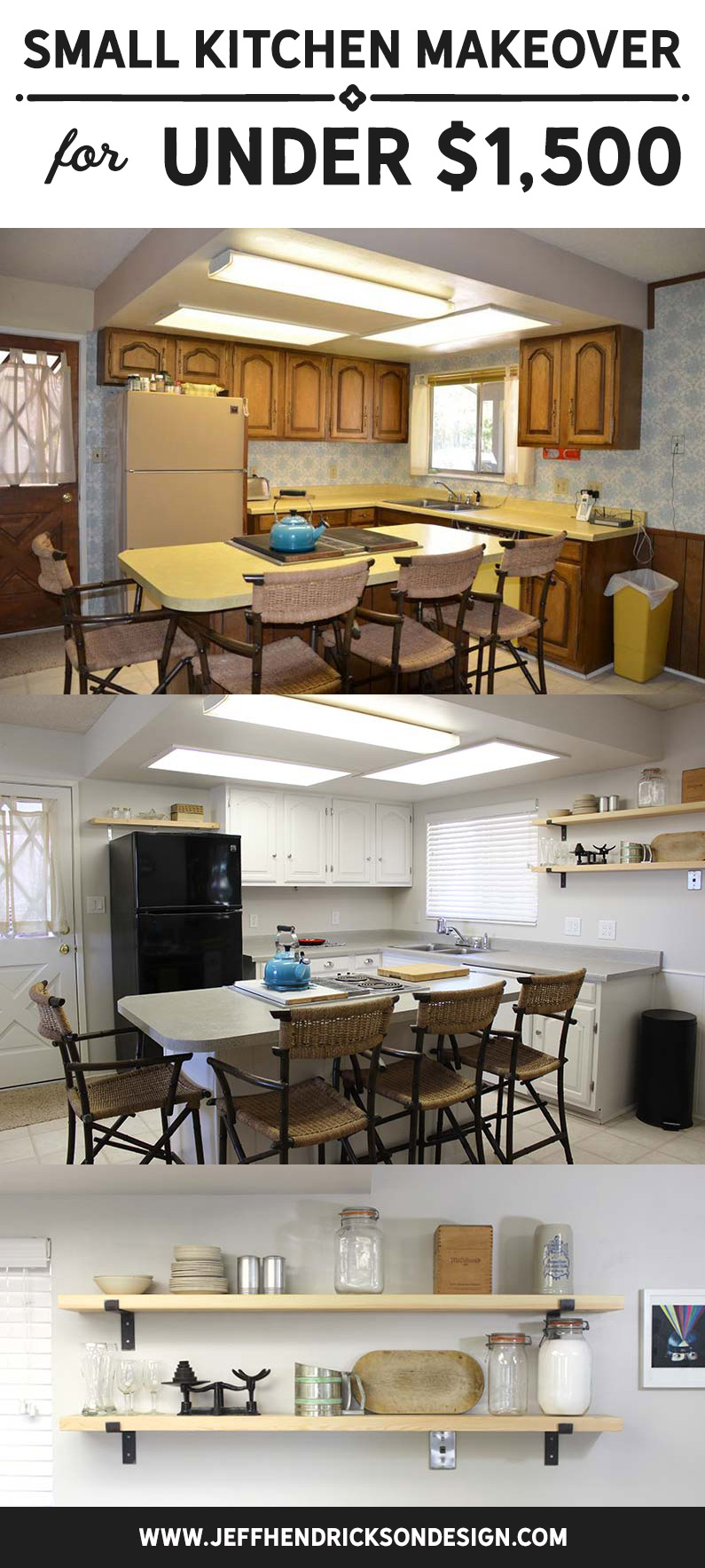 From 70's to an updated, clean, fresh, white kitchen for under $1,500!