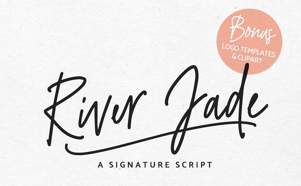 River Jade Signature Font