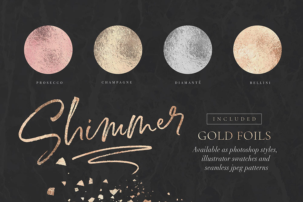 Pastel gold foil graphics are included.