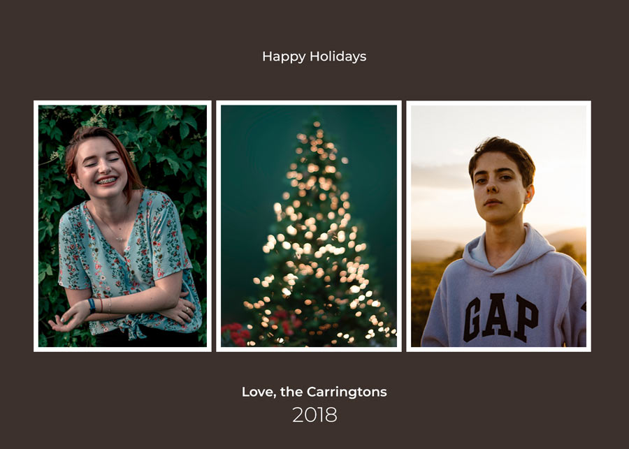 Free - 3 photo - Christmas Card Template